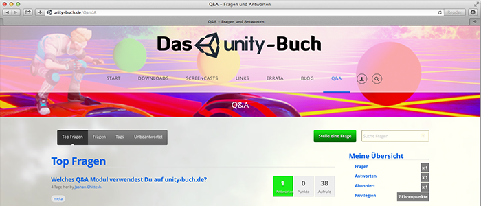 Webdesign steht, Q&A-Modul lokalisiert